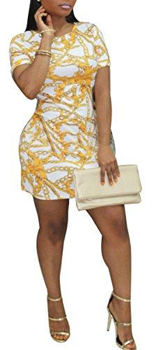 BBCXH SxClub Women Sexy Scoop Neck Bodycon Gold Chain Stripes Print Short Sleeve Mini T Shirt - T-shirt White Chain