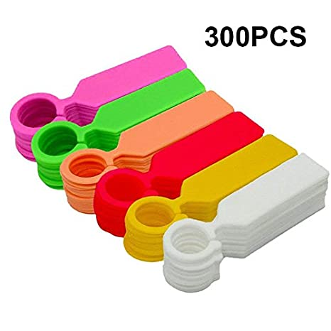 KINGLAKE 300 Pcs Colorful Thick Plastic Plant Tree Tags Markers Nursery  Garden Labels,11cm,6 Colors