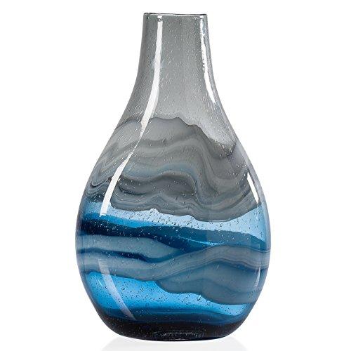 Torre & Tagus 902525C Andrea Swirl Glass Tall Bulb Vase, Tall, Blue