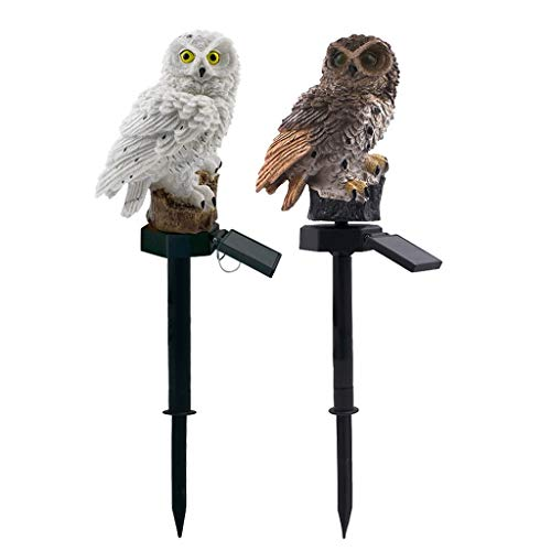 IRENE 2PCS Cute Owl Shape Lights Garden Solar Night Solar-Powered Lawn Lamp (White, Brown)
