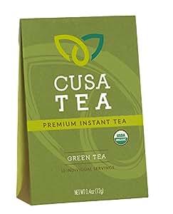 Organic Green Tea by Cusa Tea - Premium Organic Instant Tea - USDA Organic Certified Tea - 10-pack of Instant Tea - Zero Sugar, Preservatives or Flavorings