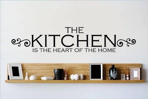 Top Selling Decals - Prices Reduced : Best Selling Cling Transfer : THE KITCHEN IS THE HEART OF THE Home Family Meal time dinner supper Wall Sticker Size : 6 Inches X 30 Inches - 22 Colors Available