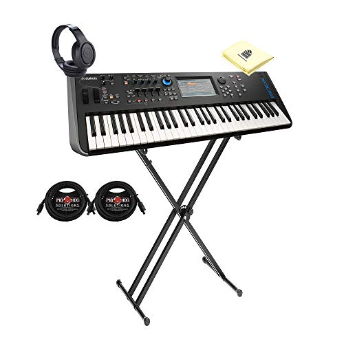Yamaha MODX6 61-Key Weighted Action Synthesizer with Motion & Super Knob Controls and 4-Part Seamless Sound Switching Bundle with Stand, Headphone, MIDI Cable & Zorro Sounds Synthesizer Polish Cloth