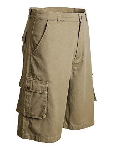 MIER Mens Cargo Shorts Loose Fit, 6 Pockets, Knee-Length, Khaki