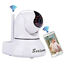 SOTION Baby Monitor Super HD Internet WiFi Wireless Network IP Security Surveillance Video Camera System, Pet and Nanny Monitor with Pan and Tilt, Two Way Audio & Night Vision