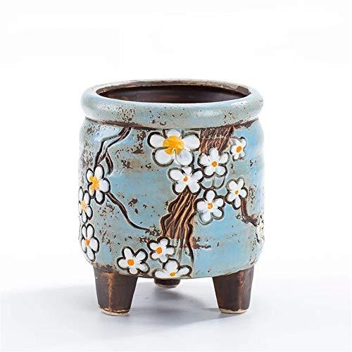 Green Plant Square Round Korean Retro Pot Blue Mini Flower Pot, Cylindrical Shape Succulent Potted/Cactus Succulent Potted Pot/Container / Flower Pot -