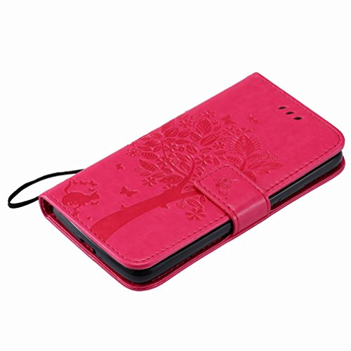 Yiizy Motorola Moto G5 Custodia Cover, Alberi Disegno Design Premium PU Leather Slim Flip Wallet Cover Bumper Protective Shell Pouch with Media Kickstand Card Slots (Red Rose)