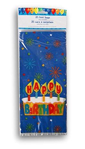 Happy Birthday Treat Bags - Happy Birthday Cake Cellophane Treat Bags with Twist Ties - 25 count