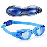 Amazon Lightning Deal 99% claimed: EVERSPORT Swimming Goggles, Anti Fog, UV Protection, Waterproof, No Leakage, Clear Lens, Shatterproof Glasses with Protective Case, Men Women Youth Teenagers Kids/Children Indoor Outdoor Swim Eyeglasses