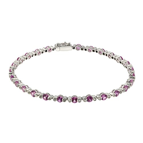 3.5 Carat Ruby, 0.5 Carat Diamond, Diamond Bracelet, 18K White Gold, Jewel Ivy 18K Bracelet with Ruby & Diamonds, Rare, Classy by Jewel Ivy