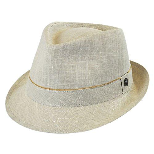 Jaxon Cotton Trilby Fedora Hat (Oatmeal, L)