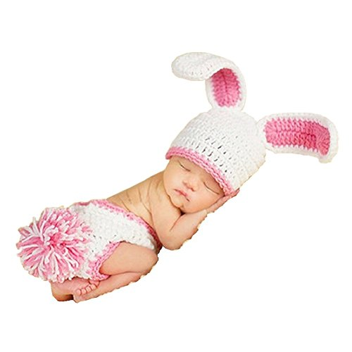 Unique Baby Animal Costumes - SUNBABY Newborn Photography Props Baby Knitting Wool Material Photography Costume Cute Animal Style Baby Crochet Clothes (Pink Rabbit)