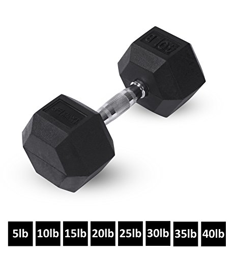 Day 1 Fitness Rubber Hex Dumbbell Shaped Heads to Prevent Rolling and Injury - Ergonomic Hand Weights for Exercise, Therapy, Building Muscle, Strength and Weight Training - 40 lb Single