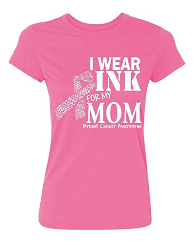 Promotion & Beyond P&B I Wear for my Mom Breast Cancer Awareness Women's T-Shirt, L, Azalea Pink - Wear Pink Breast