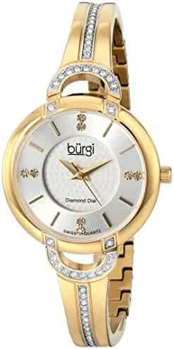 5b62a121a694 Burgi Women s BUR105YG Yellow Gold Swiss Quartz Watch with Silver Dial and  Silver Crystal Accented Bracelet
