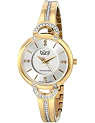 Burgi Womens BUR105YG Yellow Gold Swiss Quartz Watch with Silver Dial and Silver Crystal Accented Bracelet