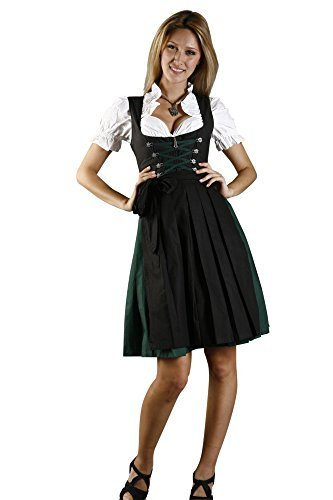 Bavarian Women's Midi Dirndl dress 3-pieces with apron and blouse black green size 44 (US14) (Ladies Dirndl)