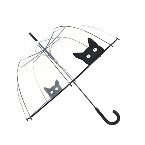 SMATI Stick Manual Clear STARS Umbrella - Birdcage Dome See Through (Mom and Kid) (Clear Bubble Umbrella)