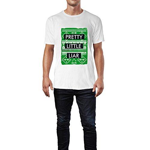 SINUS ART® Pretty Little Liar Schriftzug im Ethno Stil Herren T-Shirts in Weiss Fun Shirt mit tollen Aufdruck
