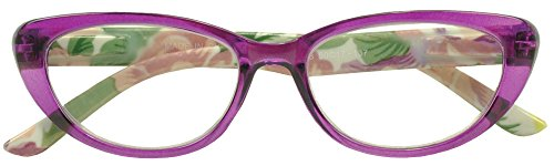 Sunglass Stop - Transparent Purple Retro Cateye Floral Rx Reading Glasses (Purple , - Framless Glasses