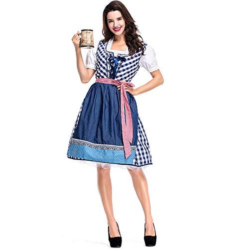 StarDY Women Oktoberfest Costume Bavarian Dirndl Beer Maid Peasant Costume Blue Gingham Skirt Hallowen Fancy Dress (M, Blue)]()