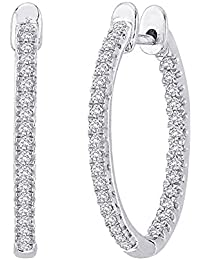 1 - 5 Carat Total Weight Inside Out Diamond Hoop Earrings Premium Collection