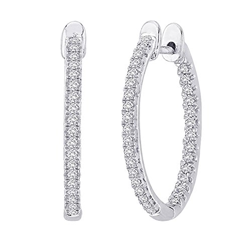 Cts 14k Diamond Earrings (1 Carat Total Weight Inside Out Diamond Hoop Earrings Premium Collection)