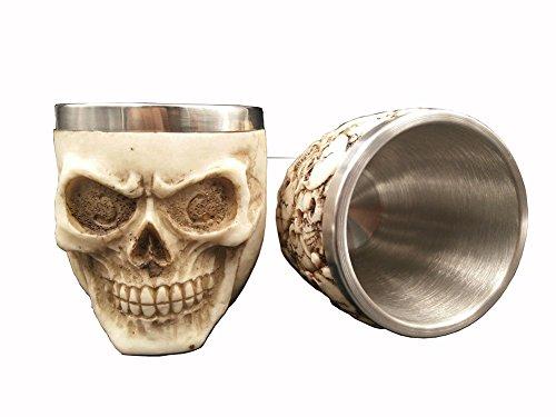 3D Stainless Steel Skull Drinking Mug Cup Skeleton DrinkWare Tankard Novelty for Halloween