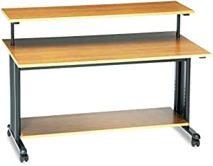 Safco 1928MO Extra Wide Adjustable Height Workstation, 48w x 25d x 41-1/2h, Oak PVC Top