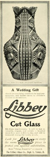 1902 Ad Libbey Cut Glass Decorative Vase Wedding Gift Home Decor Toledo Ohio - Original Print Ad from PeriodPaper LLC-Collectible Original Print Archive