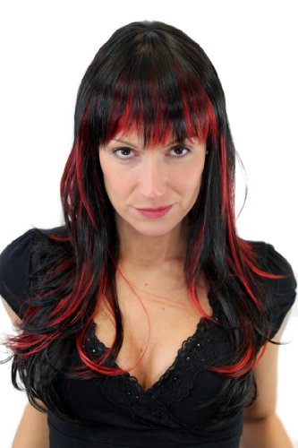 Damenperücke Schwarz Rote Strähnen Pony Gfw824 131y Amazonde Beauty