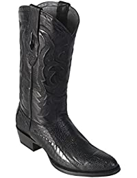 Men's Medium R-Toe Genuine Leather Ostrich Leg Skin Western Boots