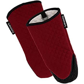 Cuisinart Silicone Oven Mitts, 2pk - Heat Resistant Quilted Oven Gloves to Safely Handle Hot Cookware - Soft Insulated Deep Pockets, Non-Slip Grip and Convenient Hanging Loop - Red Dahlia