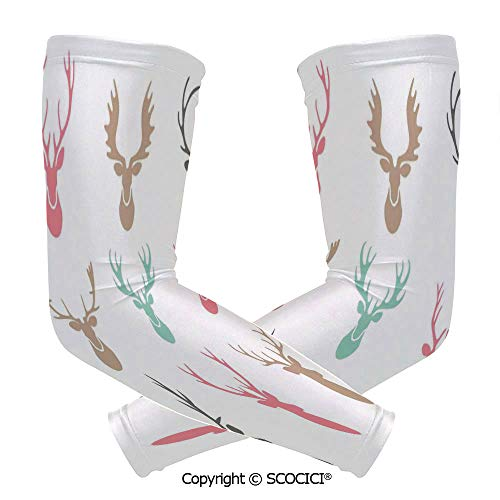 Comfort and Durable Lightweight Arm Guard Sleeve Reindeer Antlers Illustration Hunt Countryside Jungle Nature Silhouette Art Decorative Breathable, Flexible Sleeves Protection