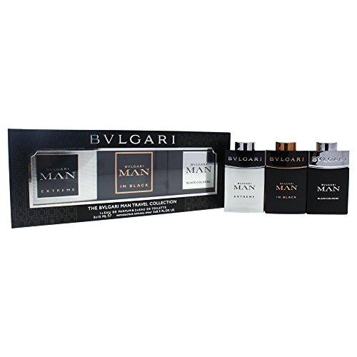 Bvlgari Travel Collection 3 Peice Mini Gift Set for Men, Black Edp Spray, Black Cologne Edt Spray, 3 Count Black Cologne Edt Spray