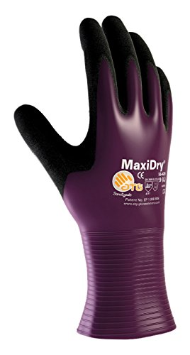 (MaxiDry 56-426/L Ultra Lightweight Nitrile Glove, Fully Dipped with Seamless Knit Nylon/Lycra Liner and Non-Slip Grip on Palm and Fingers)