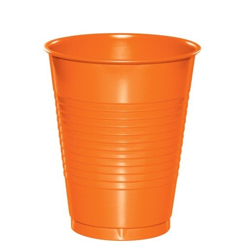 Creative Converting 28191071 12 oz Solid Plastic Cups Sunkissed Orange 240 Counts
