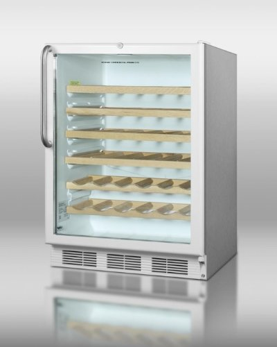 (Summit SWC6GWL-CSSWO stainless steel wine cellar with glass door wooden shelves white kickplate and 50 bottle capacity. Built-in)