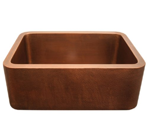 Whitehaus WH2519COFC-SCO Copperhaus Kitchen Sink, Smooth Copper Copperhaus Rectangular Copper Sink