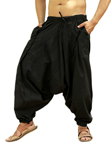 Sarjana Handicrafts Men's Cotton Harem Yoga Baggy Genie Boho Pants (Free Size, Black) -