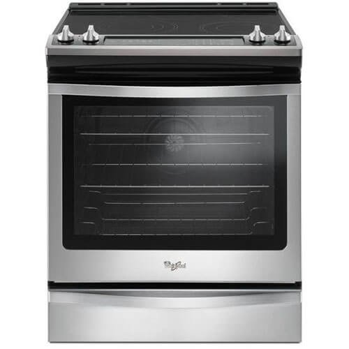 Whirlpool WEE745H0FS - Range - built-in - width: 29.9 in - depth: 28.9 in - height: 36 in - with self-cleaning - black on stainless