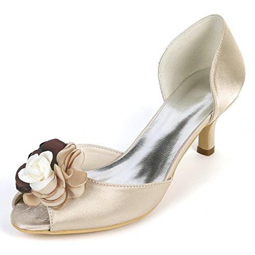 Chunky Peep Bianco court Tacchi Alti 6cm Fiori Pumps New Eleoulck Sposa Per Champagne Toe Donna Da Scarpe Uw1q08