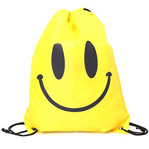 Dabixx zaino Smile Face shopping Bags, borsa da viaggio impermeabile Beach bags-hot rosa, Tessuto Oxford, Hot Pink, 43x33cm/16.93x12.99 Yellow