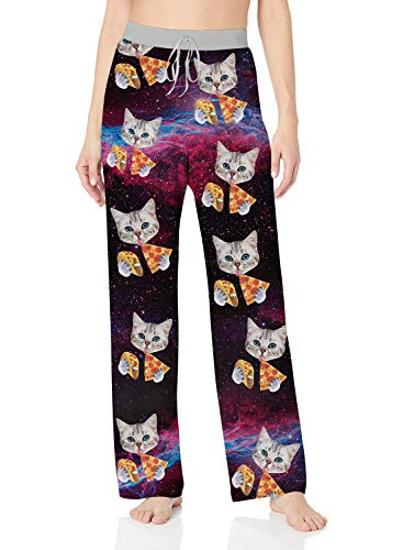 ALISISTER Galaxy Pajama Pants for Women 3D Cat Palazzo Lounge Pants 90S Soft Sleepwear Bottoms Long Home Trousers with Elastic Drawstring Clothing S