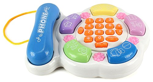 Learn Telephone (Fun Learn & Play Children's Kid's Toy Telephone Game Set w/ Flashing Lights, Music, Animal Sounds, Ringtones (Colors May Vary))