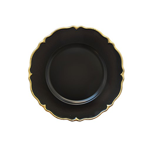 Scallop Charger Plate - Elle Decor 1270499-4 Scallop Charger Plate (Set of 4), 13 x 13, Black
