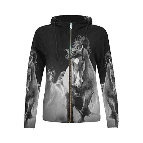 Zipper Custom - InterestPrint Custom Wild Horses Running Women's Zipper Hoodies Sweatshirt L