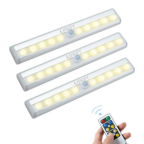 LUNSY Closet Lights Battery Operated, Wireless Remote Control LED Under Cabinet Lighting, Stick-on Anywhere 10 LED Night Light Bar, Safe Lights for Closet Cabinet Wardrobe Stairs, 3 Pack