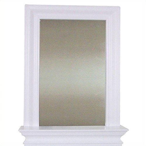 Elegant Bathroom Mirror (Elegant Home Fashions Stratford Collection Framed Mirror with Shelf, White)