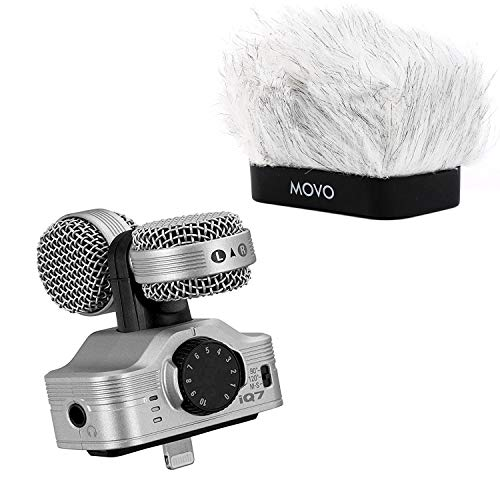 Zoom iQ7 Mid-Side Stereo Recording Microphone Bundle with Movo Fitted Deadcat Windscreen - Compatible with iPhone, iPad and other iOS Devices